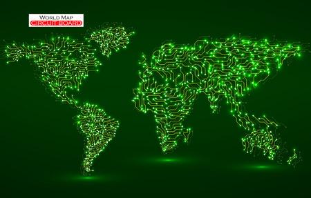 世界地図。回路基板です。技術の背景。ベクトルの図。