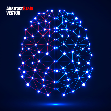 Abstract polygonal brain with glowing dots and lines, network connections. Vector illustration.