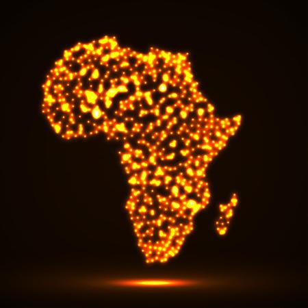 Résumé carte de l'Afrique avec des particules incandescentes
