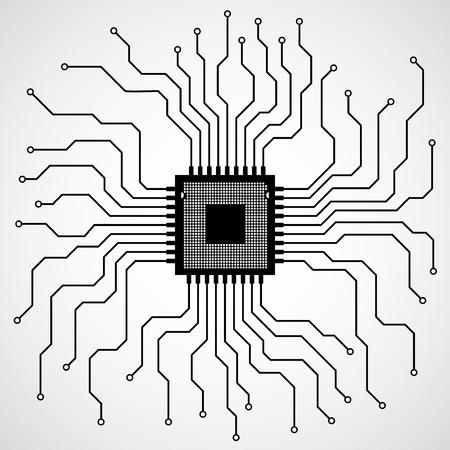 electronical: Cpu. Microprocessor. Microchip. Circuit board. Vector illustration.