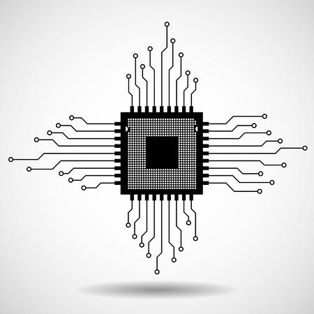Cpu. Microprocessor. Microchip. Circuit board. Vector illustration.