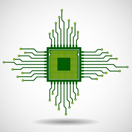 Processeur. Microprocesseur. Puce électronique. Circuit board. Vector illustration.