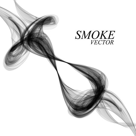 black smoke: Abstract black smoke on white background Illustration
