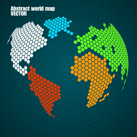 Abstract colorful globe earth of hexagons Illustration