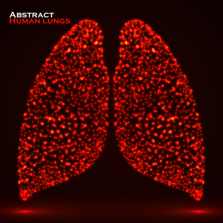 Abstract human lung of glowing particles