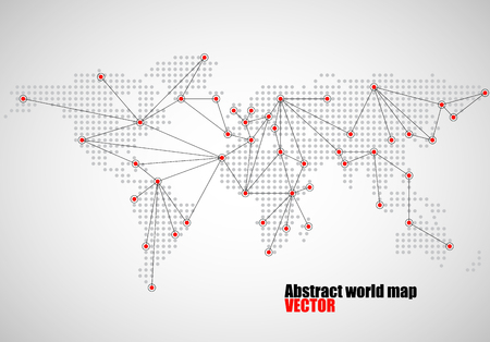 americas: World map connection, abstract dotted background, social media network, vector illustration eps 10
