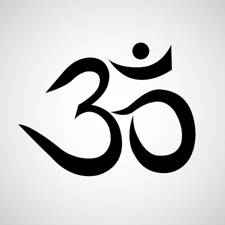 Om or Aum sign isolated on white background. Symbol of Buddhism and Hinduism religions icon Illustration
