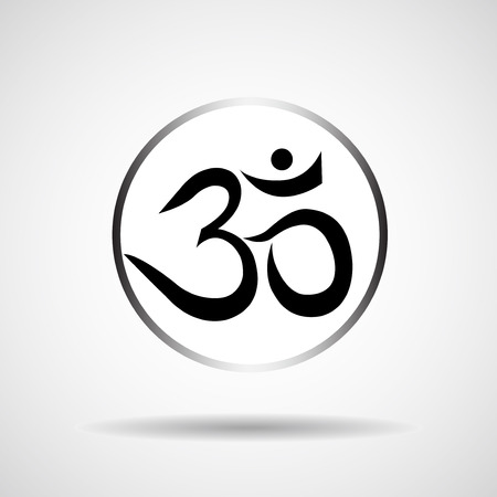 hinduism: Om or Aum sign isolated on white background. Symbol of Buddhism and Hinduism religions icon Illustration