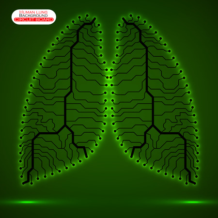 Neon human lung. Circuit board. Vector illustration. Eps 10