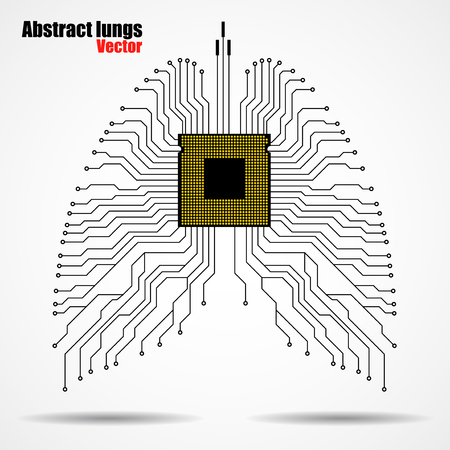 electronical: Abstract human lung, technology background, vector illustration eps 10