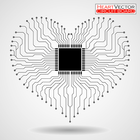 electronical: Abstract electronic circuit board in shape of heart, technology background, vector illustration eps 10 Illustration
