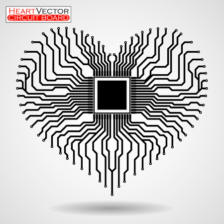 Abstract electronic circuit board in shape of heart, technology background, vector illustration eps 10 Illustration