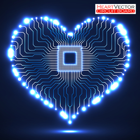 electronical: Abstract neon electronic circuit board in shape of heart, technology background, vector illustration eps 10