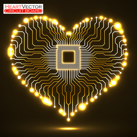 microcircuit: Abstract neon electronic circuit board in shape of heart, technology background, vector illustration eps 10