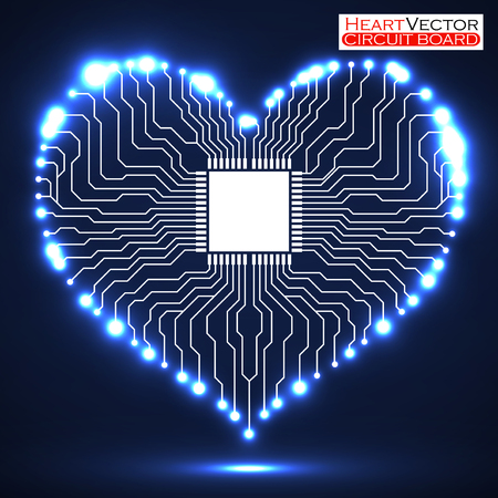 Abstract neon electronic circuit board in shape of heart, technology background, vector illustration eps 10