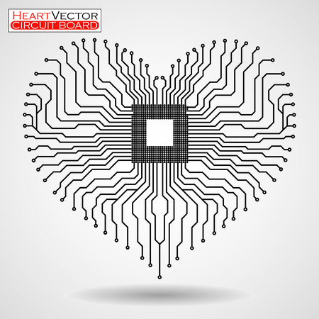 Abstract electronic circuit board in shape of heart, technology, vector illustration eps 10