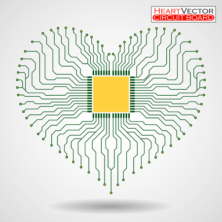 Abstract electronic circuit board in shape of heart, technology , vector illustration eps 10