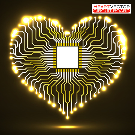 Abstract neon electronic circuit board in shape of heart, technology , vector illustration eps 10