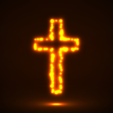 orthodoxy: Glowing cross, christian symbol, abstract sign, vector illustration eps 10