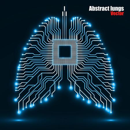 抽象的な人間の肺、技術背景、ベクター イラスト eps 10