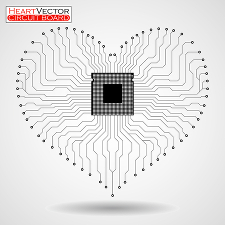 Abstract electronic circuit board in shape of heart, technology background, vector illustration eps 10