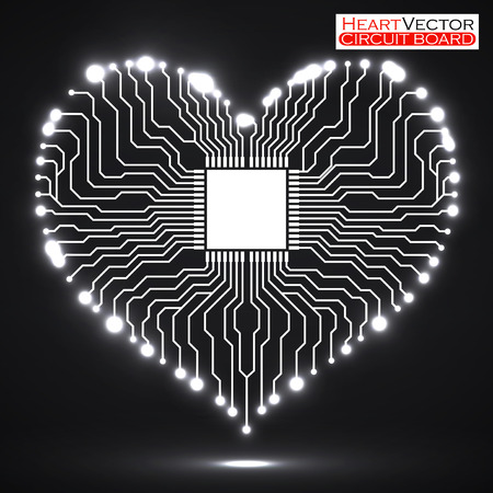 electronic board: Abstract neon electronic circuit board in shape of heart, technology background, vector illustration eps 10