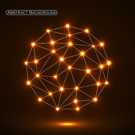 Abstract polygonal sphere with glowing dots, network connections. Futuristic technology style Illustration