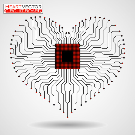 Abstract electronic circuit board in shape of heart, technology background, illustration eps 10
