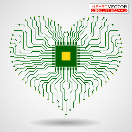 electronic board: Abstract electronic circuit board in shape of heart, technology background,  illustration eps 10 Illustration