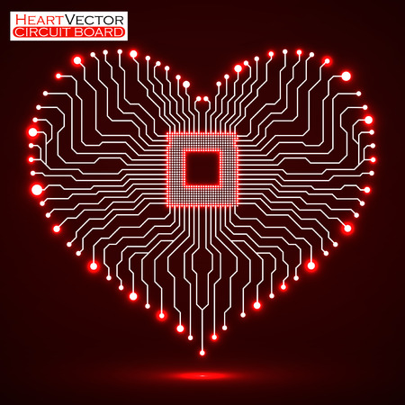 electronic board: Abstract neon electronic circuit board in shape of heart, technology background, illustration eps 10 Illustration
