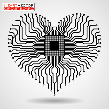 electronic board: Abstract electronic circuit board in shape of heart, technology, vector illustration eps 10