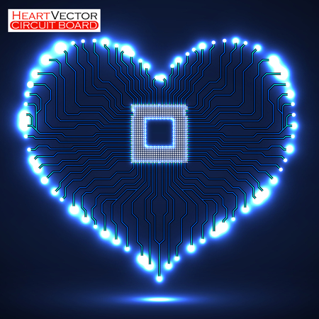 Abstract neon electronic circuit board in shape of heart, technology, vector illustration eps 10