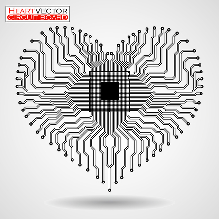 Abstract electronic circuit board in shape of heart, vector illustration eps 10