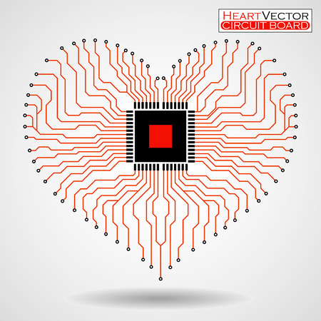 electronic board: Abstract electronic circuit board in shape of heart, technology background, vector illustration eps 10 Illustration