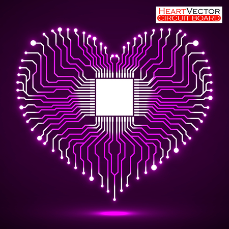 electronic board: Abstract neon electronic circuit board in shape of heart, vector illustration eps 10
