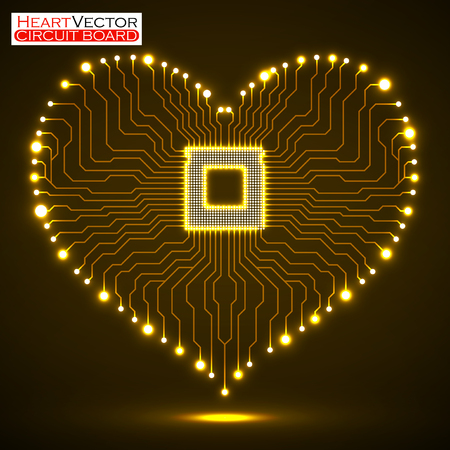 Abstract neon electronic circuit board in shape of heart, vector illustration eps 10