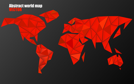 Abstract world map background in polygonal style, geometric design, vector illustration, eps 10