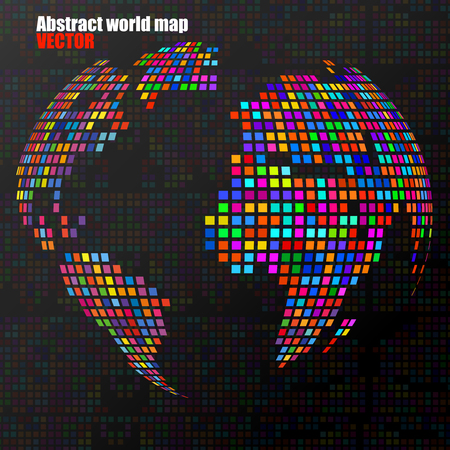 americas: Abstract globe earth from colorful pixels. Vector illustration. Eps 10 Illustration