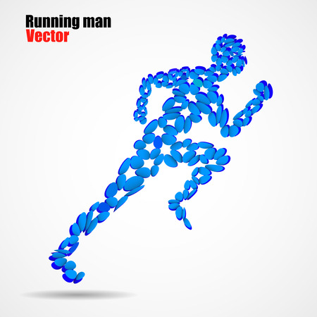 ellipse: Abstract running man from circles, beautiful silhouette