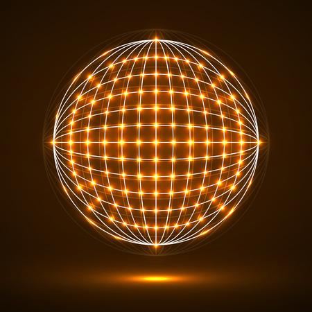 Forma de tecnología geométrica abstracta de puntos brillantes, conexión de red. Conexiones digitales globales de Neon Vectores