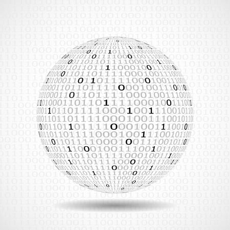 binary globe: Globe of binary code. Abstract technology ball