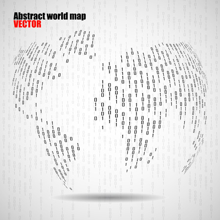 encode: Abstract world globe of binary computer code, technology background