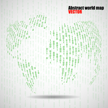 0 geography: Abstract world globe of binary computer code, technology background