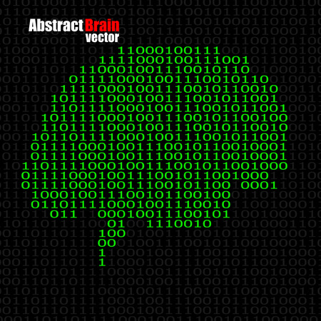 Abstract brain with binary computer code. Illustration