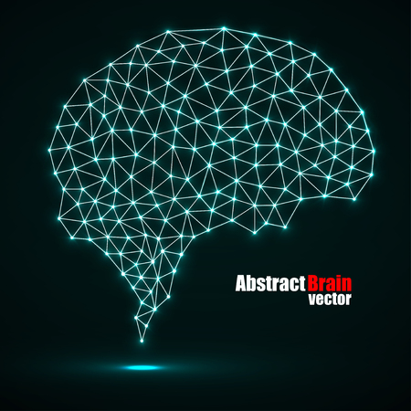 Abstract polygonal brain with glowing dots and lines, network connections. Illustration