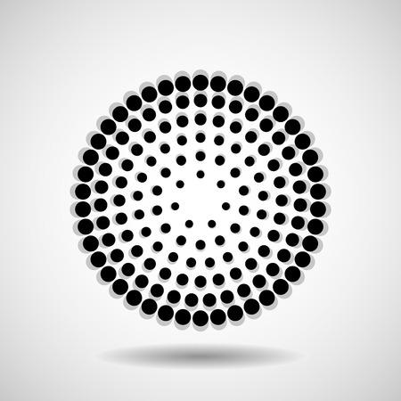 Cercles en pointillés abstraits. Points en forme circulaire. Élément de design vectoriel