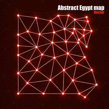 Abstract polygonal map Egypt with glowing dots and lines, network connections, vector illustration, eps 10 Illustration