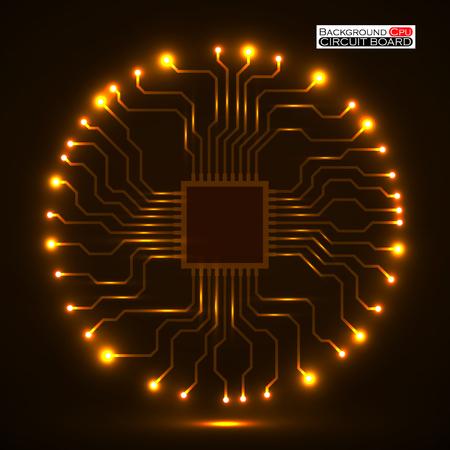 Cpu。マイクロプロセッサ。マイクロ チップ。回路基板です。ベクトルの図。Eps 10