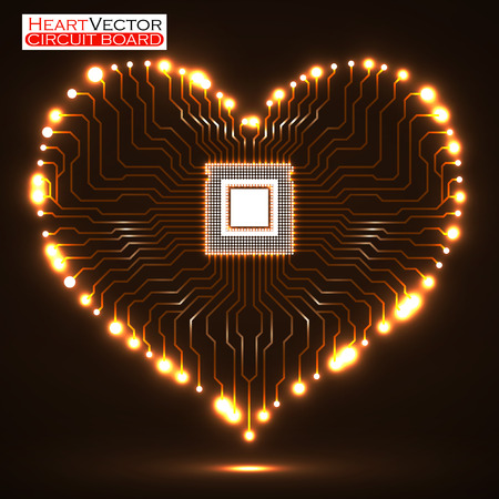 microcircuit: Heart shaped neon electronic circuit board.