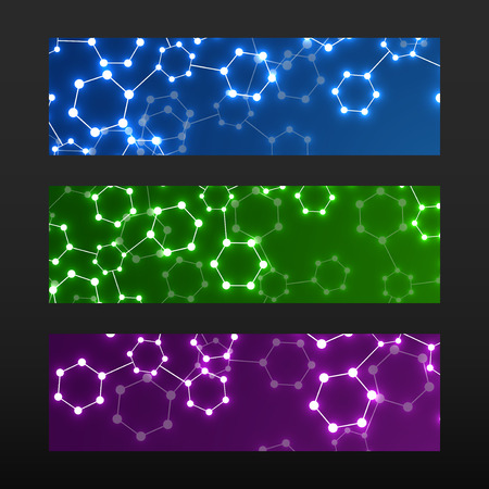 cromosoma: Banner with DNA. Molecule structure glowing background